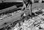 Hewing a Log, Camp Siskiwit, August 1938: Kieley, [NVIC: 30-139], ISRO Archives.