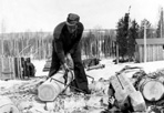 Hewing Logs, Camp Siskiwit, ca. 1938: [NVIC: 30-211], ISRO Archives.