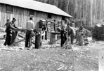 CCC Boys Manufacturing Cedar Roofing Shakes for Mott Warehouses, Camp Siskiwit, ca. 1938: [NVIC: 30-212], ISRO Archives.