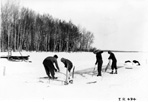 Ice Harvest by CCC Boys, Camp Siskiwit, ca. 1938: [NVIC: 30-226], ISRO Archives.