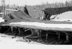 Collapsed CCC Barracks, Camp Siskiwit, March 27, 1939: L.J. Baranowski, [NVIC: 30-185], ISRO Archives.