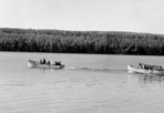 20 ft. Gas Boat Pulling Lifeboat from Old SEMINOLE, Rock Harbor, ca. 1937: [NVIC: 30-251], ISRO Archives.