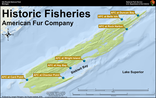 American Fur Company Fishery Locations, Isle Royale Institute, 2016.