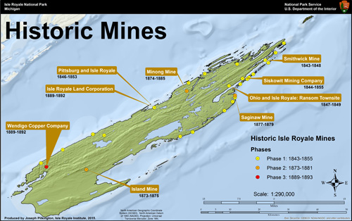 Historic Mine Locations, Isle Royale Institute, 2015.